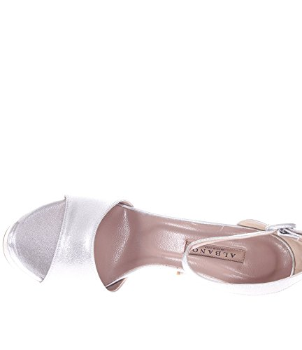 Pelle In Albano Donna Sandalo Argento vBwPf0Zx