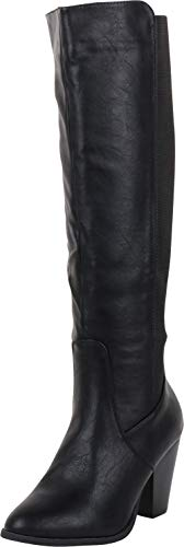Cambridge Select Women's Classic Stretch Calf Chunky Stacked Heel Knee-High Boot,9 B(M) US,Black PU