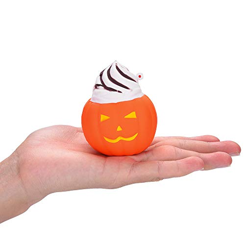 Wenini Halloween Pumpkin Kawaii Cream Scented Super Slow Rising Toys Doll Fun Collection Stress Relief Toy Gifts for Kids (Orange C) -