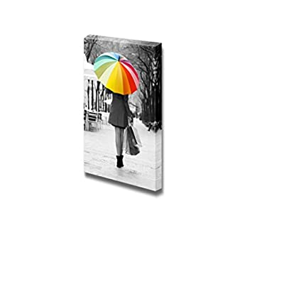 Canvas Prints Wall Art - Rear View of Woman with Purchases and Umbrella at Street | Modern Wall Decor/Home Decoration Stretched Gallery Canvas Wrap Giclee Print. Ready to Hang - 16