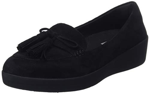 FitFlop Women Tassel Bow Sneakerloafer Loafers, Black (Black 090), 3 UK