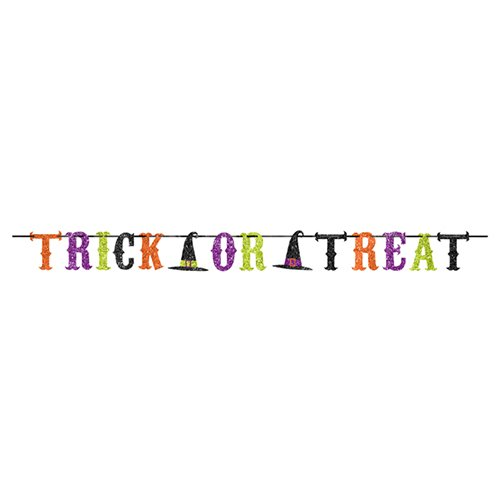 Or Ideas Treat Trick (Halloween Glitter Witch Party TRICK OR TREAT Ribbon Banner Garland)