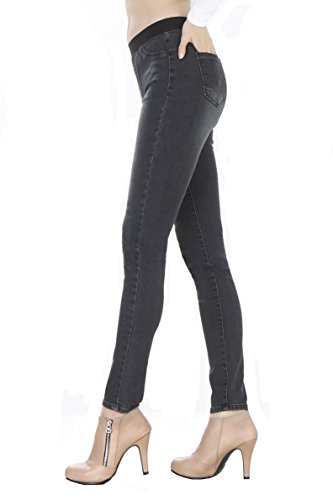 WeHeart Mascara Women Skinny Jeans Jeggings Pants Elastic Waist Black-Jean Medium by WeHeart (Image #5)