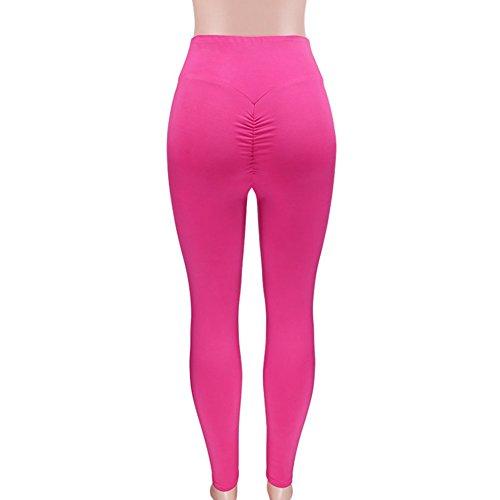 Jogging Push Leggings Solido Pantaloni Yying Rosa Elastici Colore Yoga Sportivi Alta Vita Fitness Tights Up Donne Leggins Donna q7WcURHH