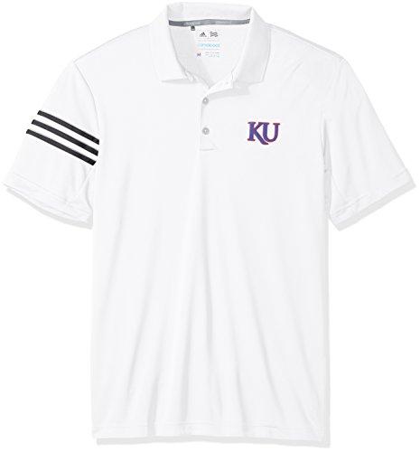 adidas NCAA Kansas Jayhawks Adult Men Spring Game 3-Stripe Polo,X-Large,White