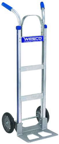 (Wesco 220328 Series 450 Cobra-Lite Aluminum Hand Truck with Vinyl Grips Twin Handle, Pneumatic Wheels, 600-lb. Load Capacity, 18