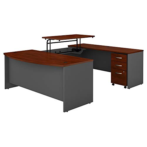 Bush Business Furniture Series C 72W x 36D 3 Position Sit to Stand Bow Front U Shaped Desk with Mobile File Cabinet in Hansen Cherry/Graphite Gray (Hansen Cherry Corner Desk)