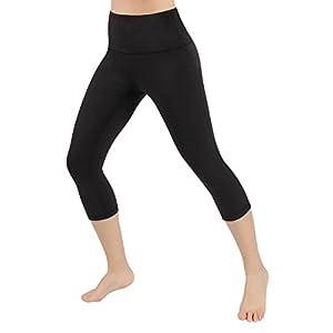 "ODODOS High Waist 18"" Yoga Capris Pants Tummy Control Workout Running 4 Way Stretch Yoga Capris Leggings,Black,X-Large"