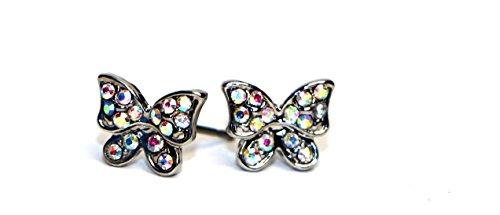 Surgical Stainless Steel Studs Earrings Little Girl-Women Butterfly Shape Cubic Zirconia Hypoallergenic Earrings