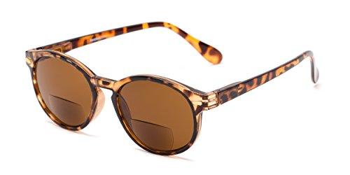 Readers.com Bifocal Reading Sunglasses: The Drama Bifocal, Classic Round Reading Sunglasses for Women and Men - Dark Tortoise with Amber, 2.75 ()