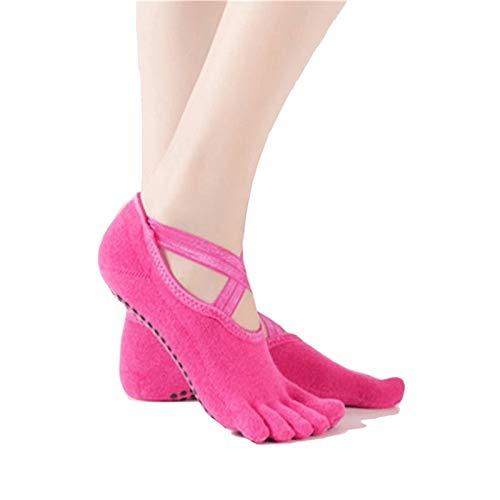 Lizes Calcetines antideslizantes para yoga con calcetines cruzados de cinco puntas para mujer