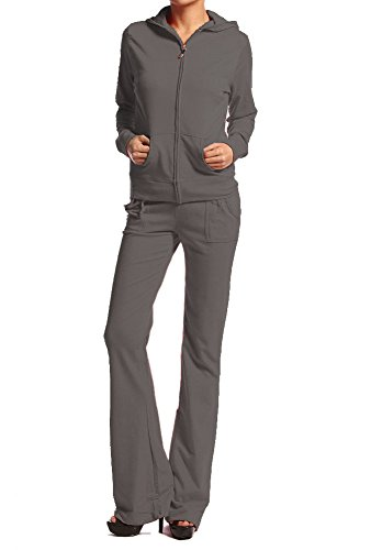 Cotton French Terry Classic Hoodie Sweat Suit Jacket and Pants Set Tracksuit (Large, Charcoal) (Terry Jacket French Track)