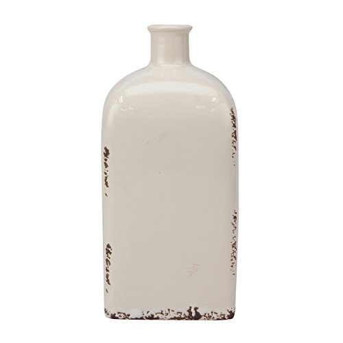 """Stonebriar Decorative 8\"""" Antique White Ceramic Vase with Cross Detail, Vintage Home Decor Accents, Unique Centerpiece for Coffee Table, Dining Table, Mantel, or Any Table Top"""
