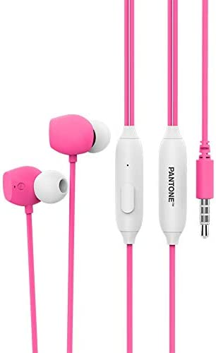 Stereo Earphones Ergonomic Noise Isolating in-Ear Headphones Rich and Clear Sound with Built-in Microphone and Remote Fits All 3.5mm iOS/Android Devices [Radiant Pink]