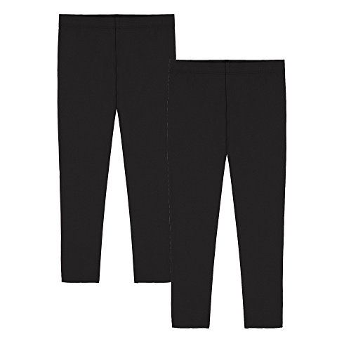 Stretch Leggings Crop (Popular Girl's Cotton Capri Crop Leggings - 2 Pack Black - S (6/6x))