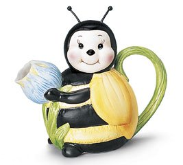 Classic Honey Bee Teapot Ceramic Yellow Black Flower
