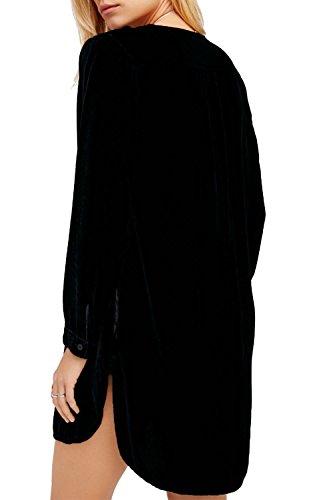 Manga larga con cuello en v camisas Casual Vestido de la túnica de la mujer Black