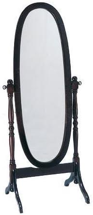 Crown Mark Cheval Mirror, White Finish Black
