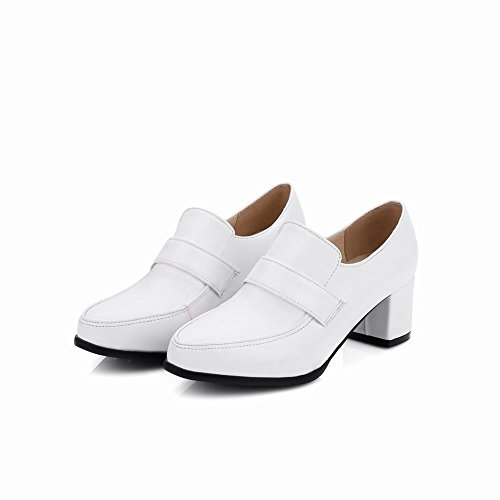 Charme Pied Dames Moderne Élégant Chunky Talon Mocassins Chaussures Blanc