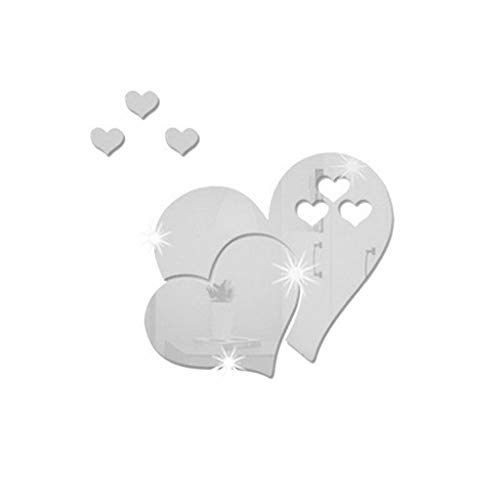 iYBWZH 3D Mirror Wall Sticker Heart Shaped Art Decal Removable Home Decor