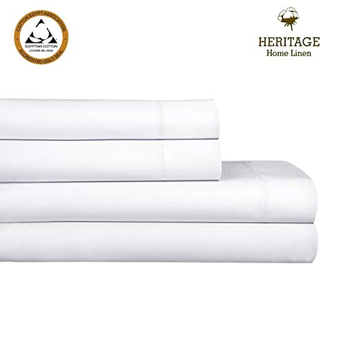 Heritage Home Linen Queen Luxury Sheet Set 1000 Thread Count 100% Egyptian Cotton Single Ply Long Staple Yarn Solid Sateen Deep Pockets Upto 18