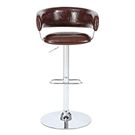 Pulaski Draven Adjustable Height Gas Lift Barstool, 34″, Brown