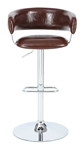 "Pulaski Draven Adjustable Height Gas Lift Barstool, 34"", Brown"
