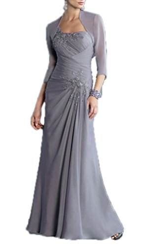 CCHAPPINESS Women's Chiffon Mother of the Bride Dress with Jacket Grey US 12