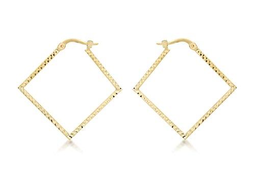 Boucles d'oreilles créoles or jaune 9carats Diamant Carré