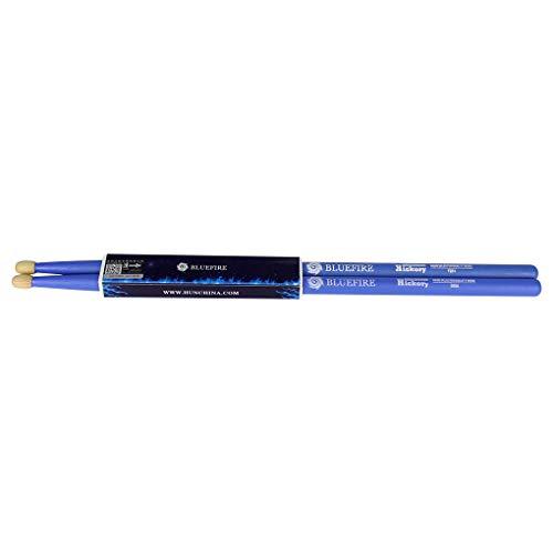 HUN Bluefire Series 5A Drum Sticks Blue Drumsticks - Hickory Wood Tip ()