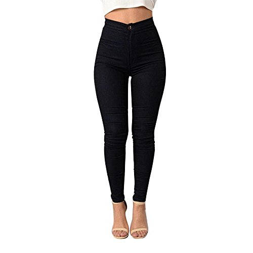 Waist High Stretch Trousers (AmyDong Women's high Waist Stretch Pencil Pants Solid Color wear Trousers Leggings Fashion Wild Women's Regular Jeans Trousers (Black, XL))