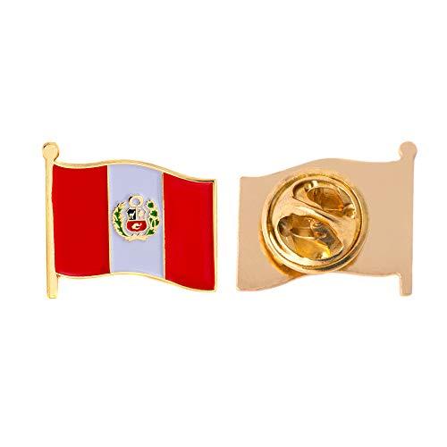 Peru Country Flag Lapel Pin Enamel Made of Metal Souvenir Hat Men Women Patriotic Peruvian (Waving Flag Lapel Pin)