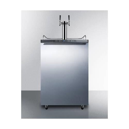 SBC635MSSHHTWIN Commercial 5.7 cu. ft. Freestanding Beer Dispenser with SS Door with Pro Horizontal Handle Twin Taps Auto Defrost and Digital Thermostat