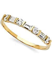 14k yellow gold cz wedding band anniversary round baguette cz ring bridal band channel stones