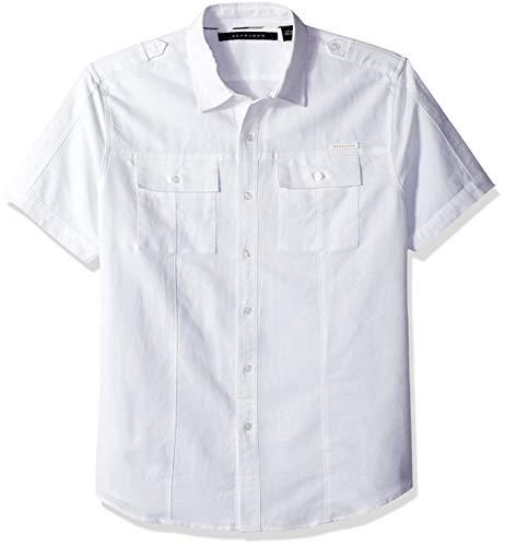 Sean John Men's Short Sleeve Linen Shirt, Bright White L from Sean John