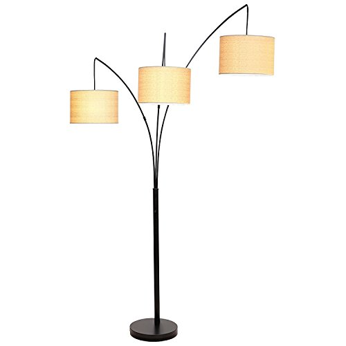 Brightech – Trilage LED Floor Lamp – Contemporary Stylish Elegance in a Black Finish – Sleek Metal Stand with Open Burlap Shades - Includes Brightech's LED 9.5-Watt Bulb - Beige Shade (Arc Floor Lamps Cheap)