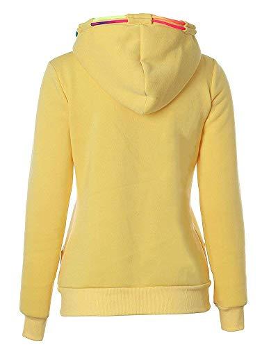Sweatshirts Invernali Manica Donne Giacca Cappuccio Con Gelb Fashion Hoodie Outerwear Cerniera Pullover Casuale Emmala Monocromo Lunga Autunno Streetwear Eleganti Felpe xT86PR