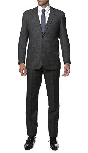 40L Zonettie 2pc Slim Fit ALDO Plaid Suit - Charcoal & Blue/Orange