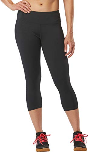 Girls Mesh Shadow Stripe (R-Gear Women's Recharge Compression 18-inch Capri Leggings with Pockets for Gym, Yoga, Fitness, Black/Shadow Stripe, M)