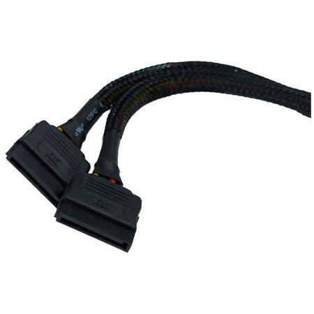 Phobya Y-Cable, 4-Pin Molex to 2X SATA Power, 15cm, Sleeved, Black
