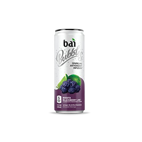 Bai Bubbles, Sparkling Water, Bogotá Blackberry Lime, Antioxidant Infused Drinks, 11.5  Fl. Oz Cans, 12 count Blueberry Leaf Organic Alcohol