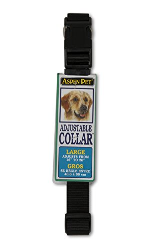 Petmate Aspen PET Products 20810 Nylon Adjustable Collar, 16 to 26-Inch, Black (Aspen Pet Dog Adjustable Dog Collar)