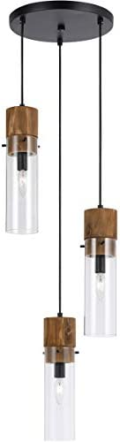 Pendants 3 Light Fixture with Black and Wood Finish Wood Glass Material E12 13 180 Watts