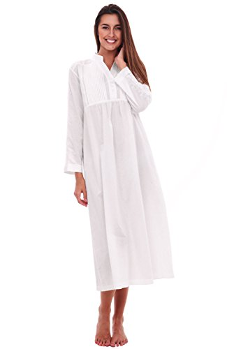 Alexander Del Rossa Womens Guinevere Cotton Nightgown, Long Poplin Victorian Sleepwear, Large White (A0520WHTLG) ()