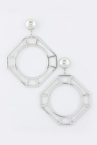 KARMAS CANVAS OVERSIZED CUTOUT SQUARE EARRINGS (Silver) by Karmas Canvas