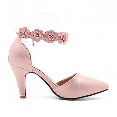 Talones de las mujeres Primavera Otoño oro blanco Confort de cuero oficina y carrera del vestido ocasional de tacón de aguja hebilla Negro Fondo verde rosado White