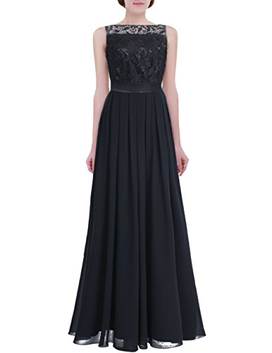 YiZYiF Women Crochet Lace Wedding Bridesmaid Formal Gown Prom Party Maxi Dress Black 4