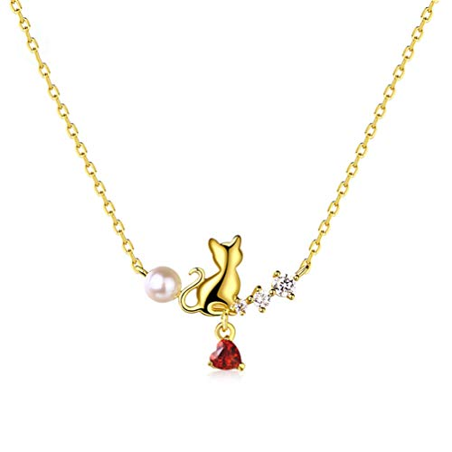 WANZIJING Bridesmaid Crystal Jewelry Set of 2, 925 Sterling Silver Cat Pearl Pendant Heart Garnet Necklace Stud Earrings,Necklace - Extension Garnet Necklace