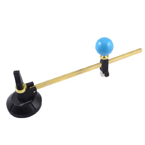Glass Circle (Uxcell Blue Ball Knob 6 Wheel Blades Gold Tone Black Glass Circle Cutter, 7-20cm)