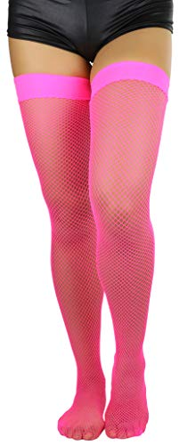 ToBeInStyle Women's Nylon Fishnet Thigh Highs - Neon